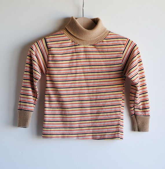 Vintage Toddler Boy Turtleneck Shirt Striped Bert By