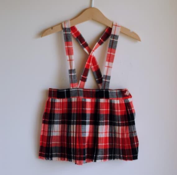 Vintage 1960's Toddler Girl Suspender Skirt - Red Black White Plaid (18m-2T)