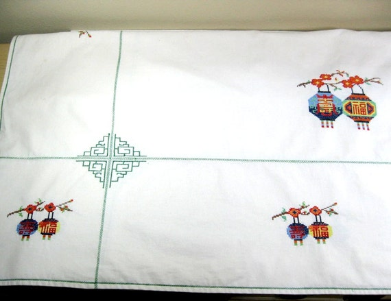 Hand Embroidered Tablecloth Japanese Lanterns CrossStitch Vintage 1970s Repurpose Linen
