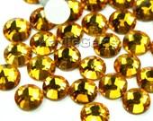 Flat Back Rhinestone Crystal  Non- Hot Fix Glue On SS6/2mm, SS8/2.4mm, SS10/2.8mm, SS12/3mm, SS16/4mm - 72pcs - Golden Topaz - Pick Sizes