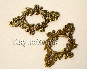 Oxidized Antique Brass Filigree Stamping Framework Victorian Floral- G6196OX - 2pcs