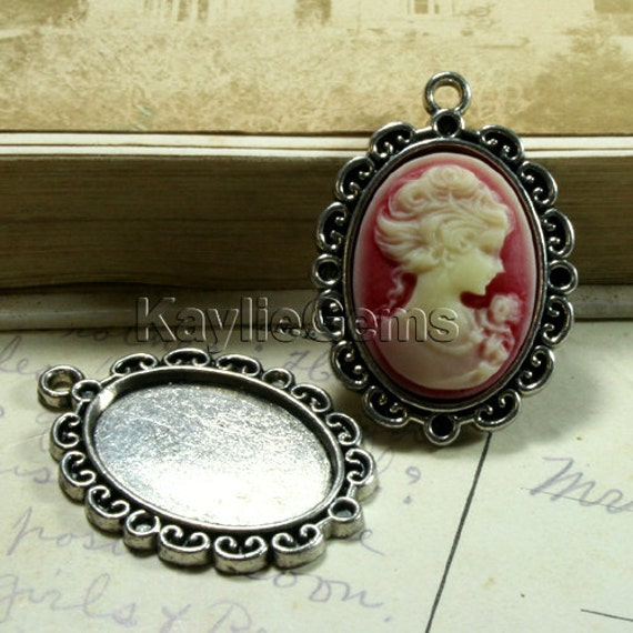 Cameo Setting Frame Fits 18x25 Antique Silver Victorian Filigree Edge -FRM-18227AB -4pcs
