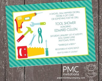Man Tool Shower Invitations - 1.00 each with envelope