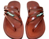 Brown Decor Rainbow Leather Sandals for Men & Women - Handmade Unisex Sandals, Flip Flop Sandals, Jesus Sandals, Genuine Leather Sandals