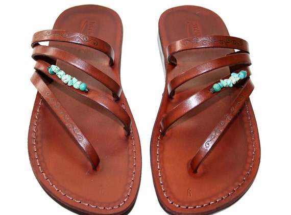 Brown Decor Rainbow Leather Sandals for Men & Women - Handmade Unisex Sandals, Flip Flop Sandals, Jesus Sandals, Genuine Leather Sandals