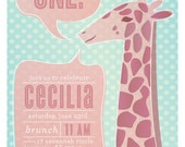 The Big ONE Giraffe Birthday Party Invite Invitation