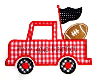 Machine Embroidery Design Applique Football Pennant Truck INSTANT DOWNLOAD