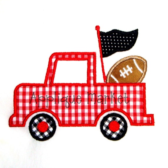 Machine embroidery design applique football pennant truck