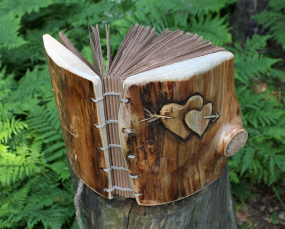 Wedding Guest Book Wood Wedding Bridal Shower Anniversary Engagement Rustic Chic  with  hearts and arrow