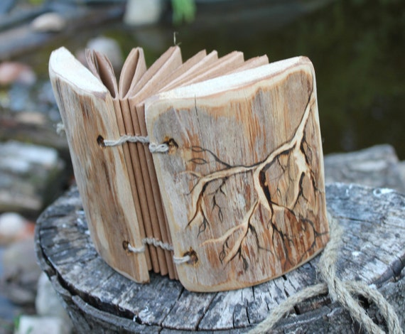 Rustic wood journal with branch handmade notebook sketchbook
