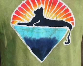 Kids Cats Down Under the Stars Jerry Garcia Tribute Batik Tee Shirt The Grateful Dead Art CUSTOM MADE