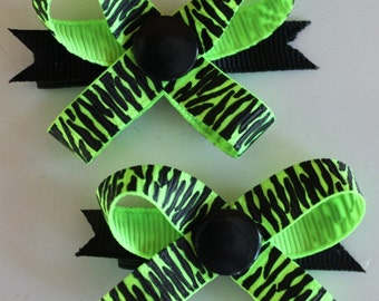 Lime & Black Zebra Snap N Go Dog Hair Bows - Set of 2 or Custom Single