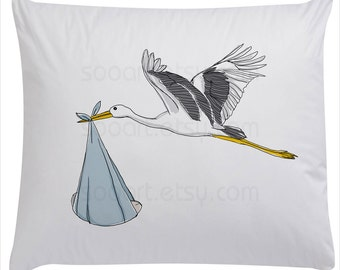 Stork with baby  -Digital Image Sheet -SooArt Original Illustrate Drawing  A4 Print on Pillows, t-shirts, scrapbook, lampshades  ETC.