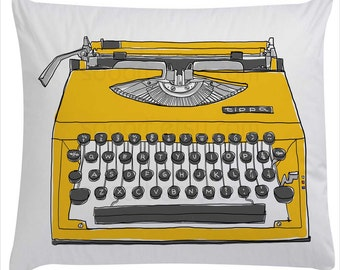 yellow Typewriter old-Digital Image Sheet -Original Illustrate Drawing  A4 Print transfer on Pillows, t-shirts, scrapbook, lampshades  ETC.v