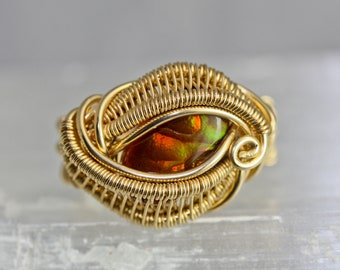 Fire Agate Ring - Wire Wrapped Talisman Amulet - Unique Original Design by Philip Crow
