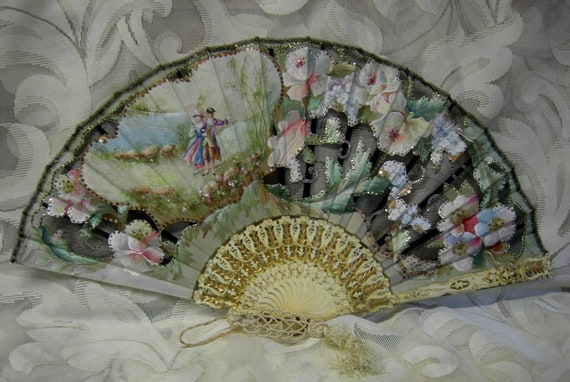 Pre Ban Antique Ivory Folding French Hand Fan Treasury Item