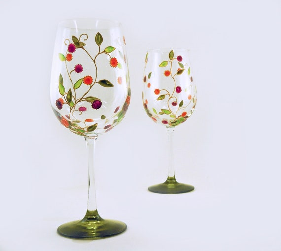 Painted large wine glasses - Set of 2 -  Lydie Collection - Gold vines with orange and pink fruit