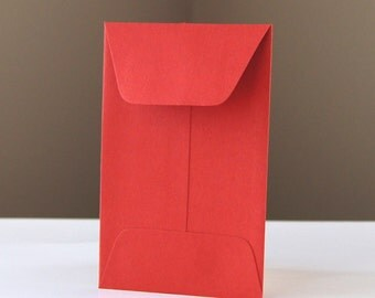 10 Open End Baby Envelopes in Persimmon (Red) .  2.25 x 3.5