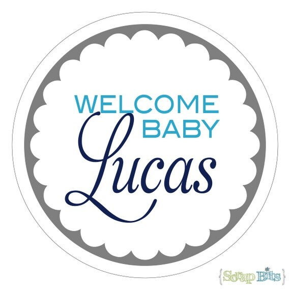 Welcome Baby . Personalized Baby Shower Stickers or Tags