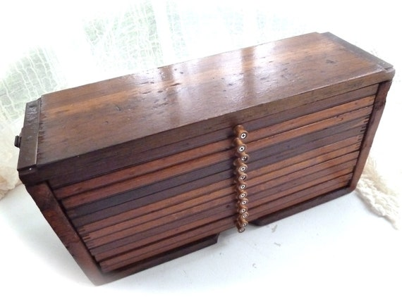 Rustic antique wooden chest/cigar drying box or trunk 1