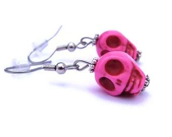 Pink Skull Earrings, Hot Pink Mini Magnesite Skull Earrings