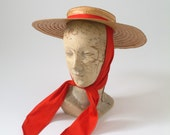 1950's Straw Brim Hat Venetian Gondolier Style with Red Cloth Tie