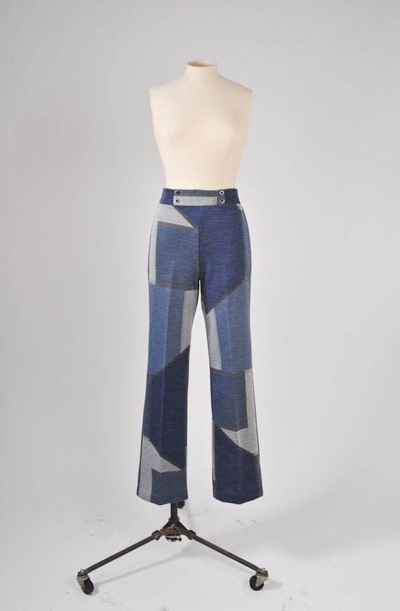 1960's Faux Patchwork Bell Bottom Pants - High Waisted
