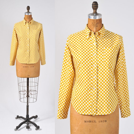 1960's Mustard Checkered Blouse - Yellow White Cotton Boyfriend Shirt