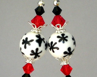 Black and white snowflake earrings, red and black Swarovski crystal, lampwork glass