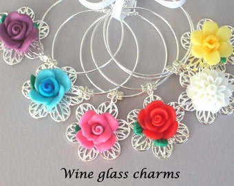 6 flower wine charms, hostess gift, colorful wine glass charms, polymer clay floral and filigree, dining and entertainment, housewarming