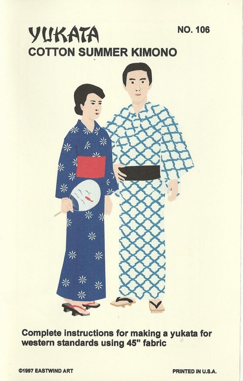 YUKATA Japanese Summer Kimono Pattern Men and Women's one