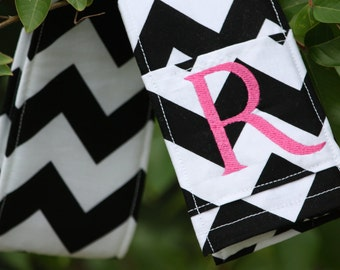 Camera Strap Cover with lens cap pocket and padding included - Monogrammed Black Chevron