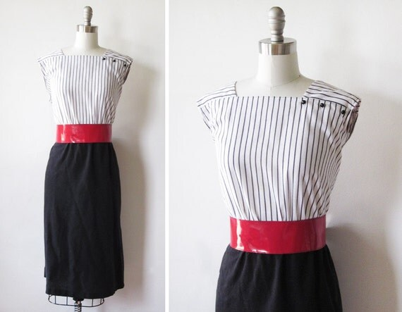 black and white striped dress / 1980s day dress