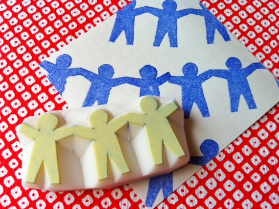boy paper doll chain stamp. children hand carved rubber stamp. paper cut banner stamp. birthday scrapbooking. gift wrapping. holiday crafts