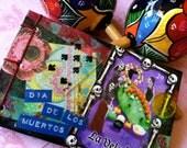 Handbound Dia De Los Muertos Notebook Handmade Art Collage