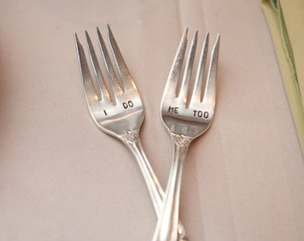 I Do Me Too  Wedding Fork Set. Featured In Style Me Pretty August 2012