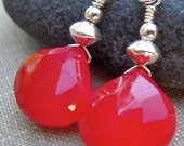 Red Chalcedony Earrings, Dangle Earrings, Red Earrings, Red Heart Faceted Earrings. Sterling Silver