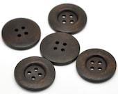 "Dark Brown button - 4 wooden buttons 35mm (1 3/8"")  (BB136B)"