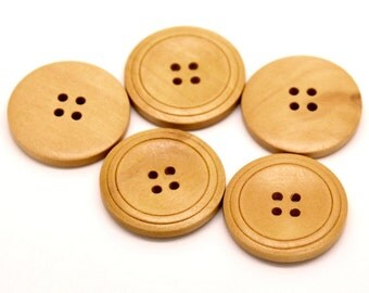 Natural Wood Buttons 30mm - set of 6 natural sewing wood button  #BB130