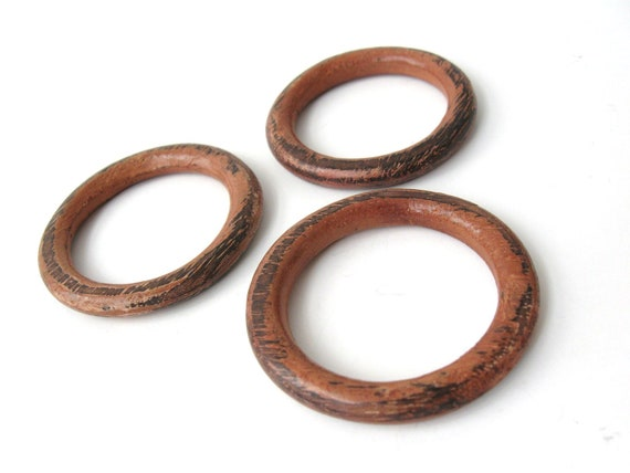 Rustic Pink Brown Wood Round Link 36mm - Set of 3 Wooden Pendants Beads