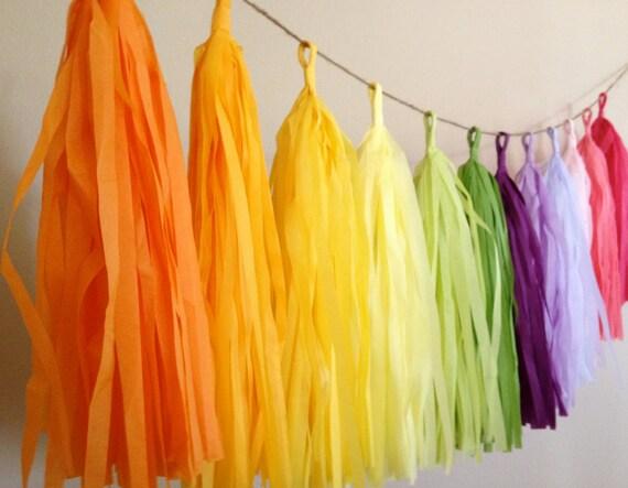 CUSTOM ... tissue paper tassel garland // nursery // classroom // wedding decorations // birthdays // party decorations