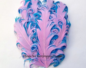 NEW Curlz Line - Cotton Candy Nagorie Curled Goose Feather Pad - Pink and Blue
