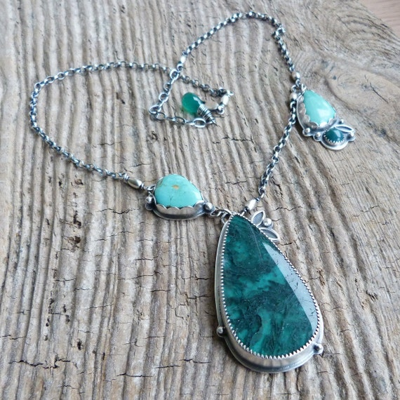 xX RESERVED Xx Moss Agate and Chrysocolla Necklace with Turquoise and Green Onyx in Oxidized Sterling Silver