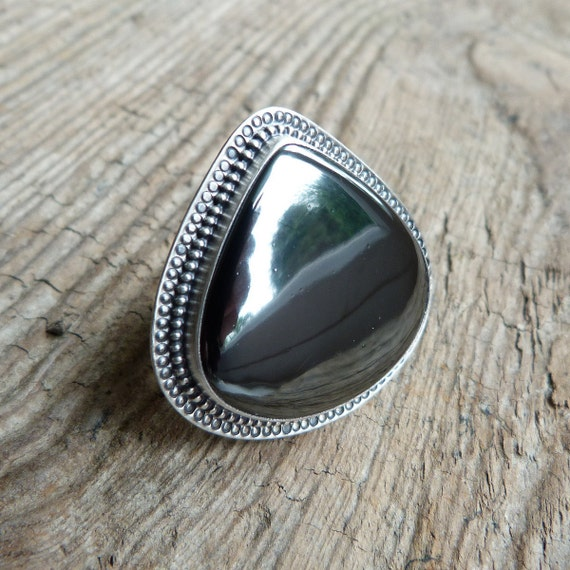 xX RESERVED XxX Remaining balance Xx Haematite Ring in Oxidized Sterling Silver - Marrakech Ring in Haematite
