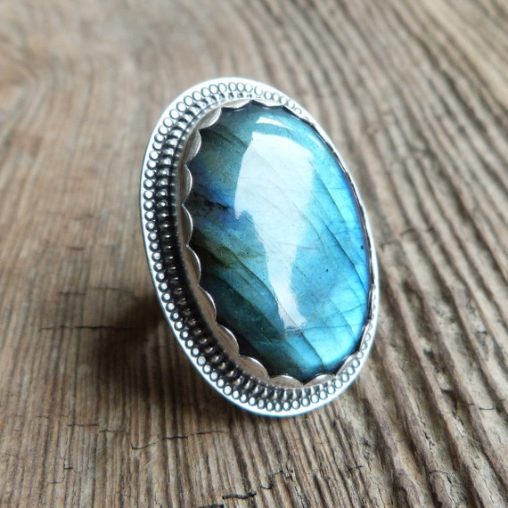 Labradorite Ring in Oxidized Sterling Silver - The Marrakech Ring in Labradorite