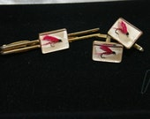 Vintage 1940's/1950's Men's Jewelry, Tie Bar and Cuff Links, Fly Fishing Lures made by Hikock