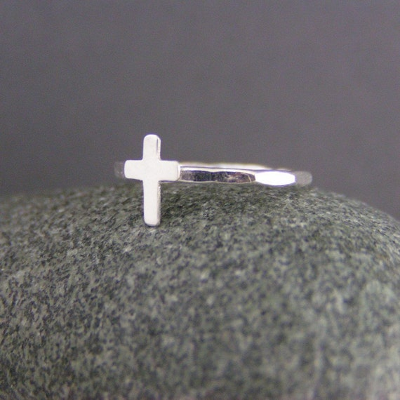 Personalized Sterling Silver Cross Ring