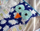 BLUE  Scrappy OWL  Bunting Garland, holiday Bunting, Birthday Flags tagt