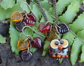 Autumn Owl necklace and earring set-  honey brown lampwork glass owl pendant, ruby, ember topaz and bronze glass leaves, antique brass