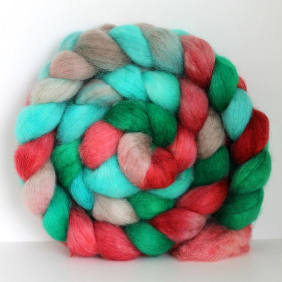North Pole - BFL Hand Painted Roving - 4ozs